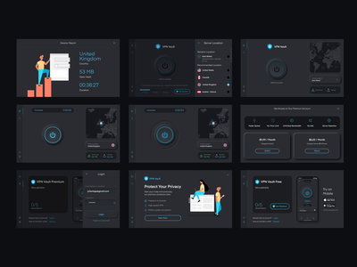 VPN Vault Desktop App appverse neuromorphic neuromorphic design neumorphism digital product design product design design ui design vpn app vpn ux  ui