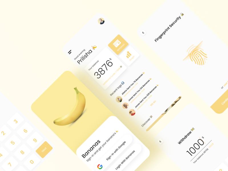 Bananas Fintech   Mobile Apps Design portfolio food yellow fintech app simple mobile minimalism branding ui flat design
