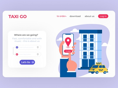 Taxi ui minimal web design