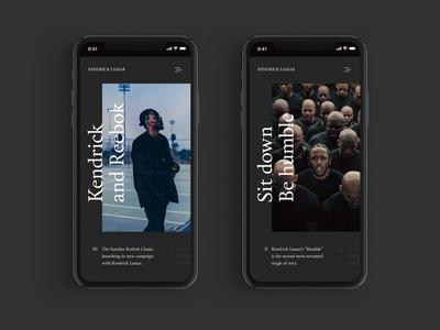 Kendrick Lamar – web design web design kendrick lamar hip hop website ux ui typography strong mobile minimal dark clean
