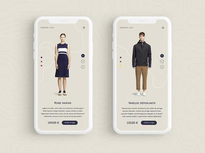 Armor Lux - mobile view web design web ux ui minimal mobile fashion ecommerce light