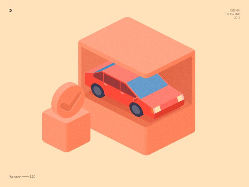 2.5d car ui branding design car icon illustration