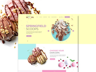 Springfield Scoops ui landing page web graphic design