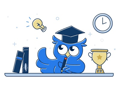Illustration hand drawn illustration book writing graduate owl education