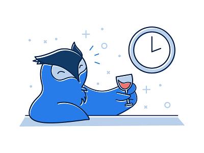 Illustration illustration wine cheers owl