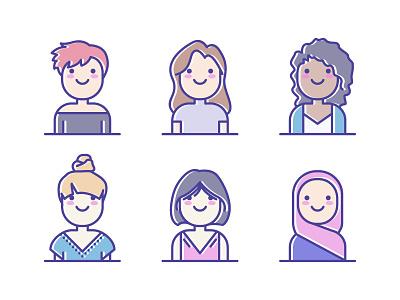 Avatars lady woman girl people female user illustration avatar