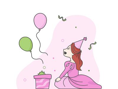 illustration pink red hair celebration princess birthday