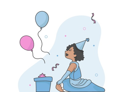 Illustration birthday gift kid child celebrate princess illustration