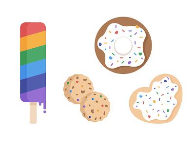 Illustration rainbow ice cream love donut cookies lgbt pride