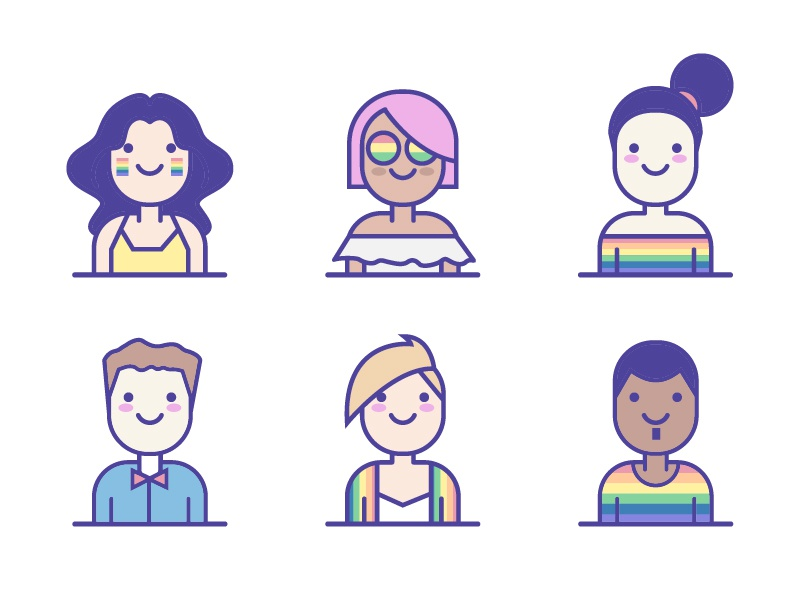 Illustration rainbow user pride lgbt avatar