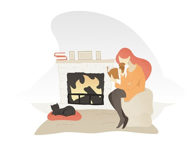 Illustration fall autumn black cat vector