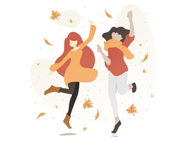 Illustration fall jump people illustration autumn