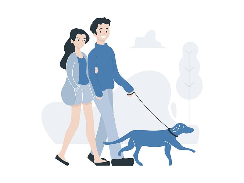 Illustration people drawing lifestyle park walking couple