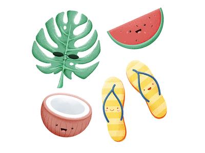 Illustration cute coconut fruit watermelon summer