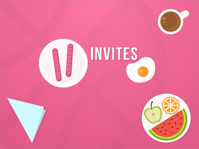 2 Dribbble invites ux ui ticket portfolio new invite invitation giveaway game dribbble designers