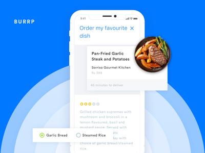 Food ordering with Voice animation restuarant food invite mobile music popular ios ui ux principle sketch