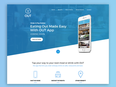 OUT App - Coming Soon Page app design hospitality landing page ios app web design design website