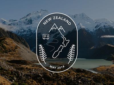 New Zealand Road Trip Badge new zealand branding flat icon illustration mountain travel vector logo badge