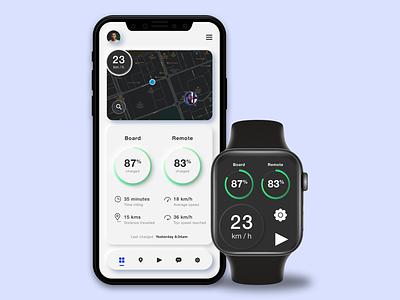 E-Riders App UI user interface mobile app ios dashboard gps neumorphism app apple watch ui