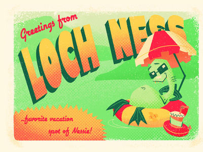 Loch Ness Postcard vacation poster travel poster travel vacation design monster postcard project lochness postcards postcard design grunge illustration poster postcard vacation postcard travel postcard halftone characterdesign character