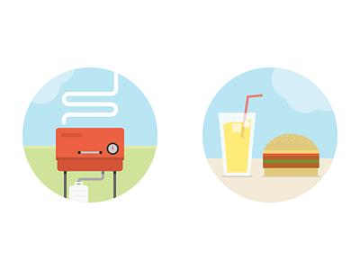 Summer Party illustration summer party lemonade burger hamburger grill bbq barbacue