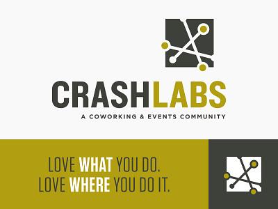 CrashLabs Logo costa mesa community events coworking tagline logotype icon identity logo