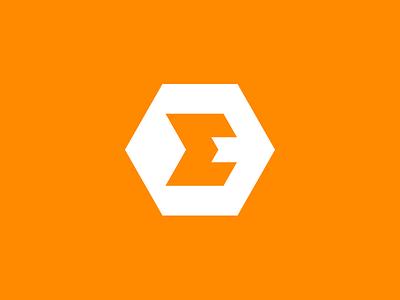 Evolved Strength Concept 04 sum sigma fitness orange strength progress letter e evolved balance icon identity