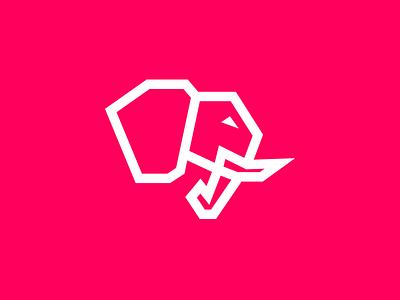 Evolved Strength Concept 05 illustration powerful fitness pink strength elephant evolved balance icon identity