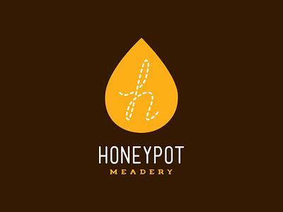 Honey Pot Meadery Honey Drop Logo gold brown meadery mead honey icon identity logotype logo