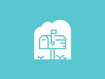 Mailbox real estate clouds flag mailbox blue brand mark icon identity logo