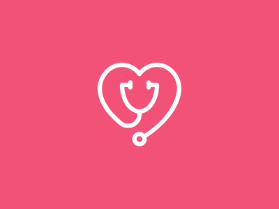 Medical Professionals Heart & Stethoscope medical stethoscope heart icon identity