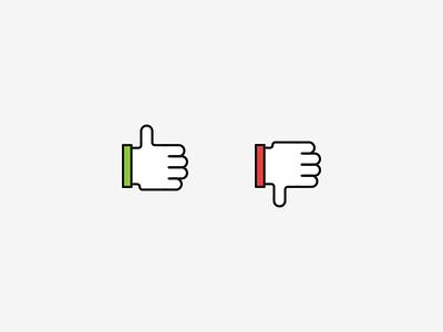 Yay Nay illustration iconography hand nay yay thumbs down thumbs up