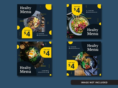 Free Elegant Food Social Media Post Blue set banners feed promo drink banner post tasty delicious modern sale discount restaurant food instagram post template elegant illustration free download free resources