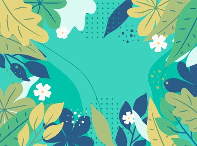Free Hand Drawn Blue and Green Floral Background