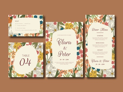Free Elegant Flower Wedding Invitation Card Set