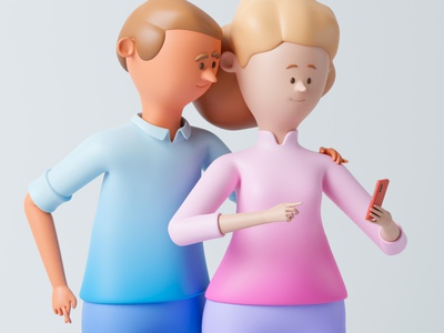 Delivery characters design order delivery smartphone woman man 3d blender 3d characters