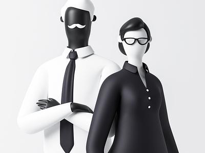 Partnership success woman man blender business character 3d