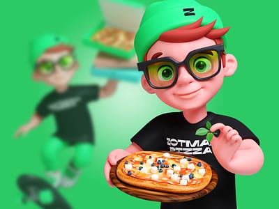Pizzaman zotman pizza man character
