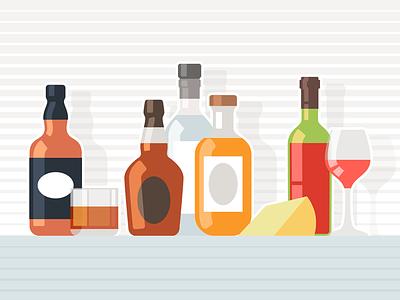 Alcoholic drinks glass cheese alcohol flat bottle cognac vodka wine