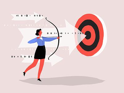 Business shooter goal aim bow arrow success target win woman shooter archer business