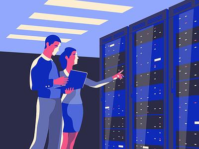 Server Cabinet with IT Technicians big data cloud teamwork team woman man technicians it cabinet rack server