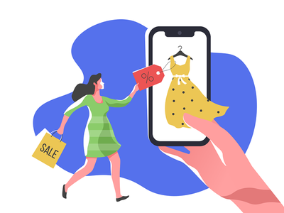 Mobile Shopping customer delivery retail buy hand female character sale payment smartphone app mobile shopping woman female