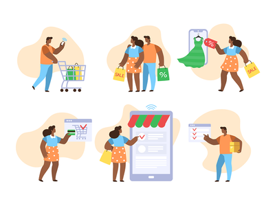 Shopping People gift couple credit family card commerce purchase girl business man woman flat customer character people sale buy store shop online