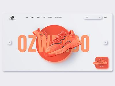 Adidas Neumorphism Landing Page webdesign uidesign ui shoes neumorphism neumorphic minimalist landingpage adidas