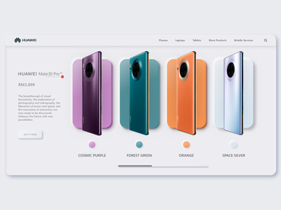 Huawei Product Page Concept colors huawei product page concept webdesign uidesign ui neumorphism neumorphic minimalist