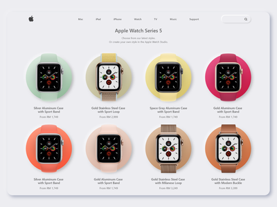 Apple Watch Catagory Page Concept apple watch apple product page concept colors webdesign neumorphic uidesign ui neumorphism minimalist