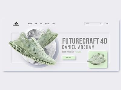Adidas Neumorphism Landing Page concept shoes landingpage adidas webdesign uidesign ui minimalist neumorphic neumorphism