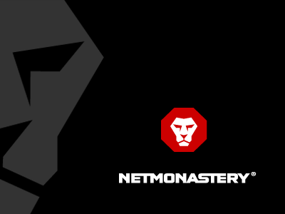 NetMonastery Logo  internet security hacking defence real-time branding logo lion stop sign stopsign red corporate identity raja bold iconic software octagon simple black 0 1