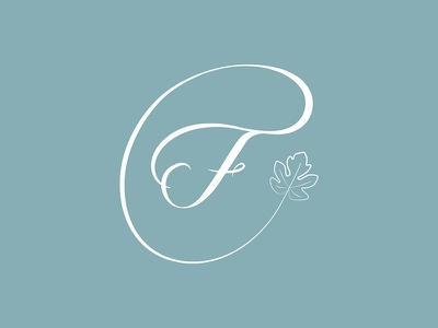 Figo logo emblem calligraphy hand lettering leaf fig f illustrator