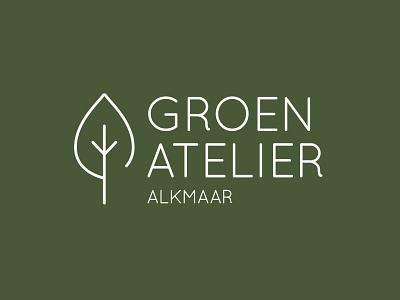 Logo Groen Atelier green dutch minimalistic simple leaf logo